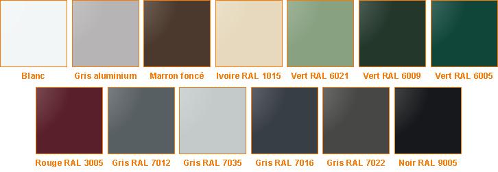 Coloris coffres disponibles